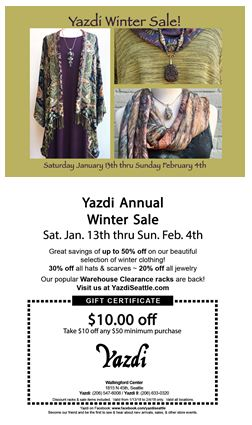 Annual Winter Sale Begins Saturday, Jan. 13th.