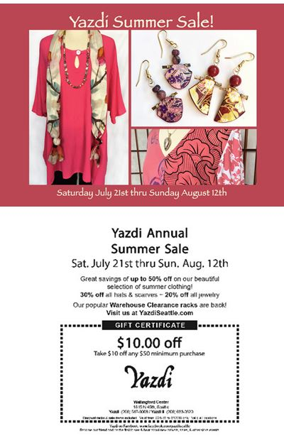 Annual Summer Sale Starts Saturday 7/21